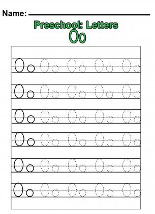 preschool o practice worksheet