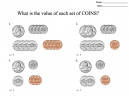 Free Money Worksheets - What is the value of each set of coins?