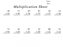 100 Problem Multiplication Sheets