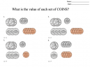 Counting Coins Exercise Worksheet - What is the value of each set of coins?