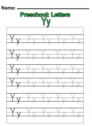 Preschool Y Practice Worksheet