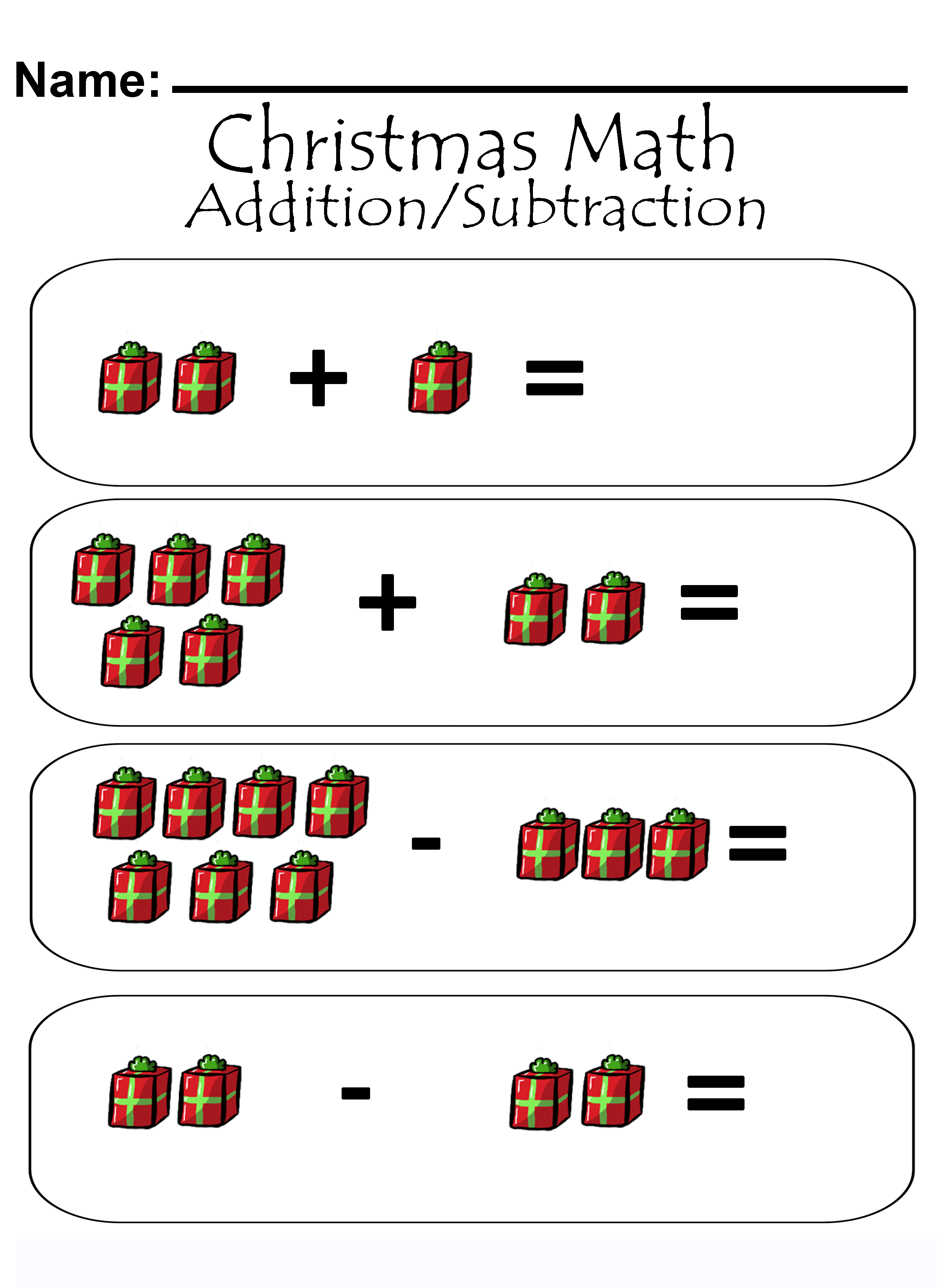 Christmas Addition/Subtraction Math Worksheets