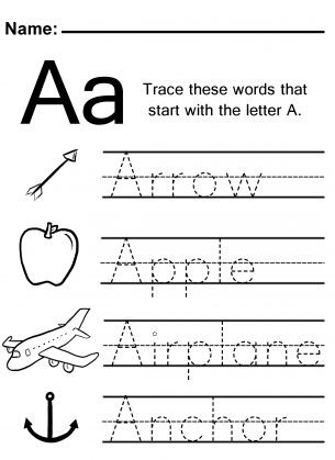 trace the letter a worksheet. Black Bedroom Furniture Sets. Home Design Ideas