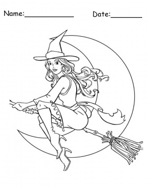 Flying Witch on Broom Stick Coloring Pages