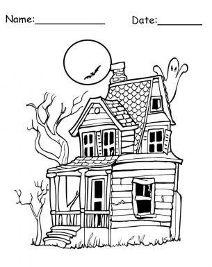 Printables haunted houses for Haunted house coloring pages printables
