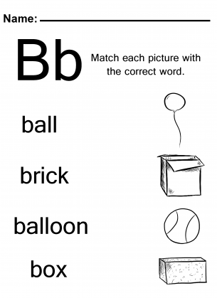 Worksheets Letter B Worksheets Kindergarten word match the letter b worksheets