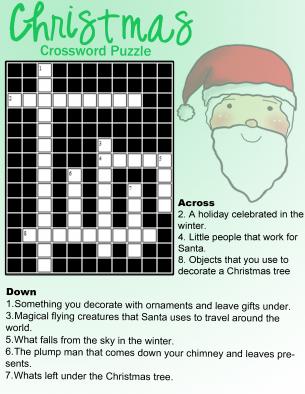 Christmas Crossword Puzzles Printable | New Calendar Template Site