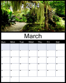 Printable March 2014 Calendars