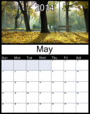 Printable Monthly Calendar May 2014