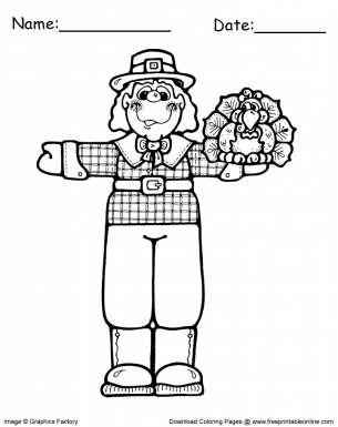 Thanksgiving Coloring Pages Pilgrim with Turkey