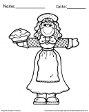 Thanksgiving Coloring pages Pilgrim with Pie