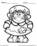Thanksgiving Coloring Sheet of Pilgrim Girl