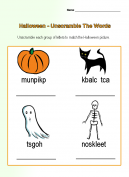 Halloween Unscramble Worksheets