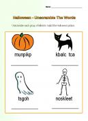 Halloween Unscramble Worksheets