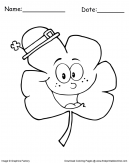 Clover Leaf With Hat Coloring Sheet