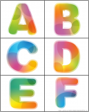 Alphabet Uppercase Flash Cards Letters A-F