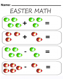 Easter Addition & Subtraction Math Worksheets