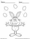 Juggling Easter Bunny Coloring Page