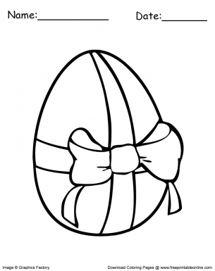 Easter Egg With Bow Coloring Page