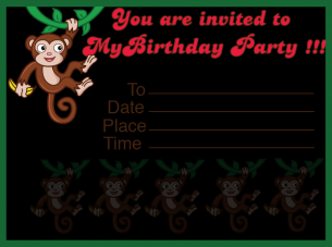 Monkey Themed Birthday Invitation
