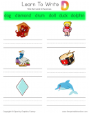 Learn To Write - Words That Start With D