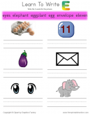 Learn To Write - Words That Start With E