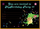 Alligator Guitar Birthday Invitation