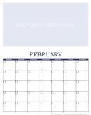Personalized February 2016 Calendar