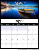 April 2016 Printable Monthly Calendar