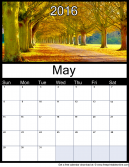 May 2016 Printable Monthly Calendar