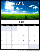 June 2016 Printable Monthly Calendar