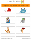 Learn To Write - Words That Start With K
