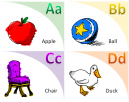 Illustrated Flash Cards Learning Letters A-D