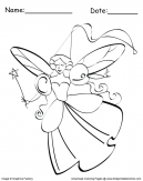 Fairy with Wand Coloring Sheet