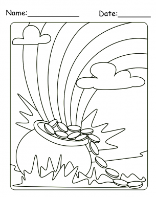 Lucky Pot of Gold and Rainbow Coloring Sheet