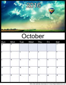 October 2016 Printable Monthly Calendar