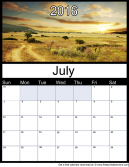 July 2016 Printable Monthly Calendar
