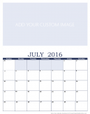 Personalized July 2016 Calendar