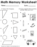 Triangles and Shorter Than Your Arm Math Memory Worksheet