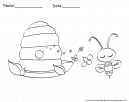 Bee and Honey Coloring Page