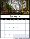 New January 2017 Printable Monthly Calendar
