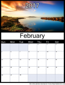 New February 2017 Printable Monthly Calendar