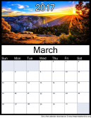 New March  2017 Printable Monthly Calendar