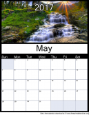 New May 2017 Printable Monthly Calendar