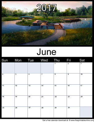 New June 2017 Printable Monthly Calendar