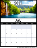 New July 2017 Printable Monthly Calendar