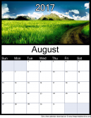New August 2017 Printable Monthly Calendar