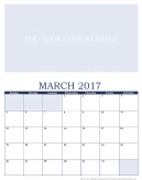 Newly Personalized March 2017 Calendar