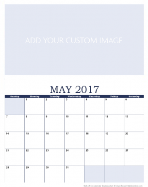 Newly Personalized May 2017 Calendar
