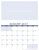 Newly Personalized August 2017 Calendar